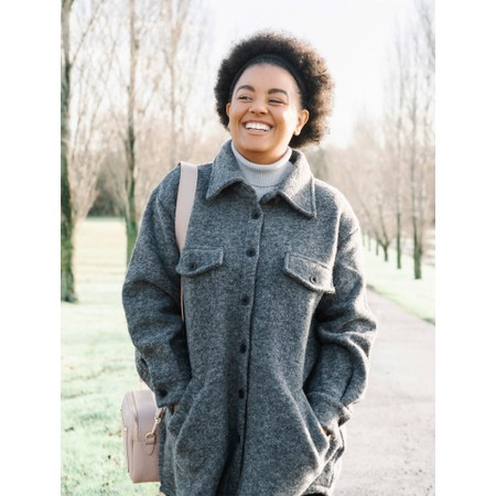 Amazing Woman Montreux Boiled Wool Shacket - Blue