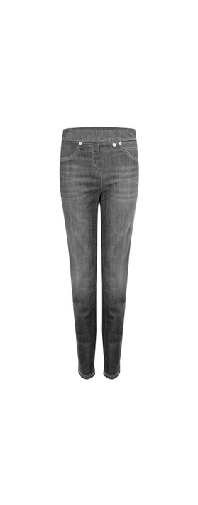 Robell  Rose Slim Fit Washed Dark Grey Denim Jean Dark Grey 95