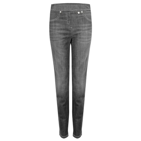 Robell Rose Slim Fit Washed Dark Grey Denim Jean - Grey
