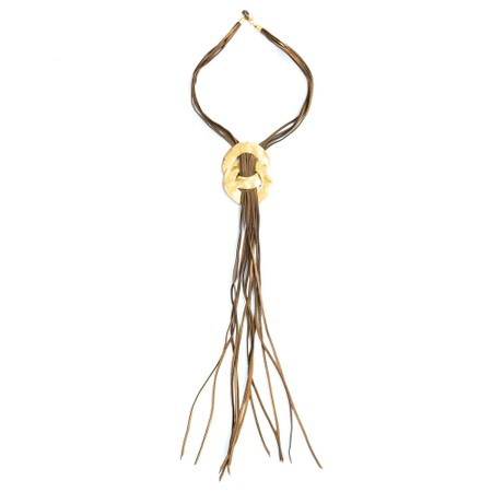 Rosanna Barcelona Roma Double Disk Necklace  - Beige