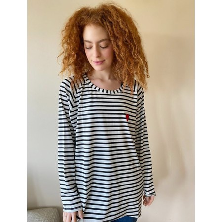 Chalk Robyn Stripe Heart Top - Black