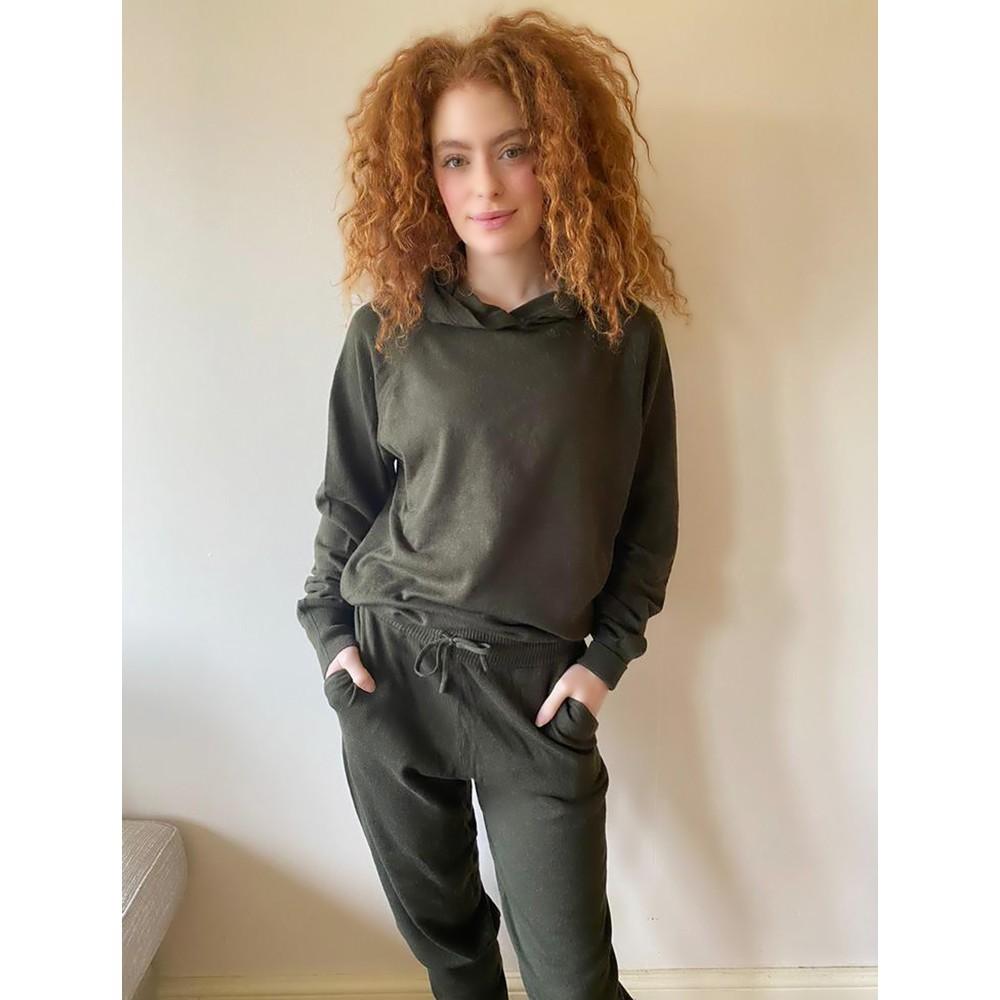 Chalk Hannah Supersoft Knit Hoodie Dark Olive