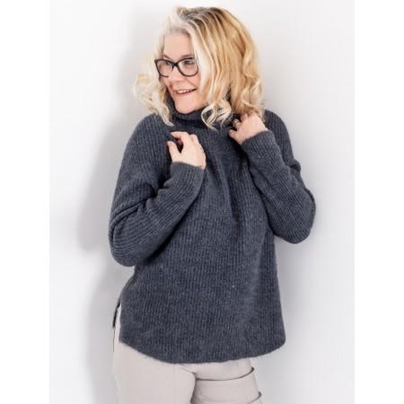 Amazing Woman  Carla E Cosy Knit Ribbed Polo Neck - Black