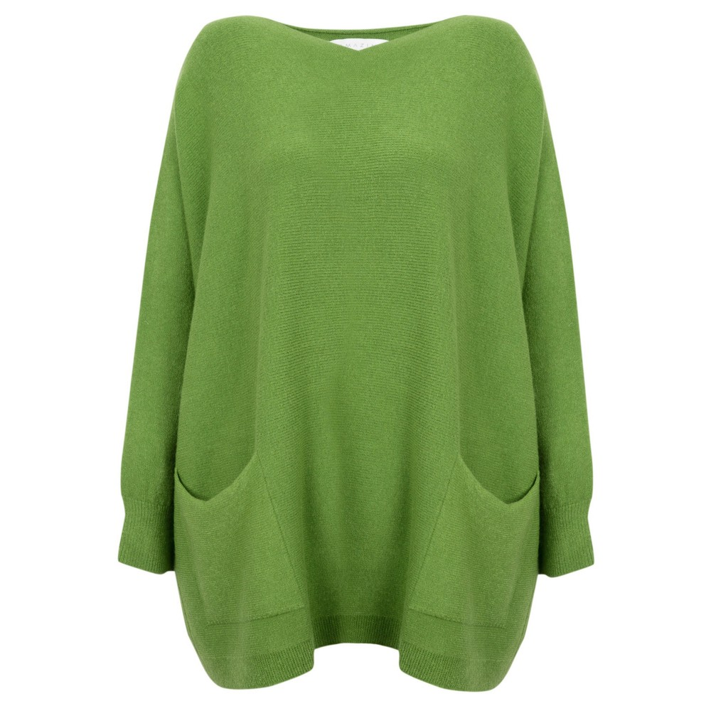 Amazing Woman Caryf X Round Neck Oversized Jumper Pea Green
