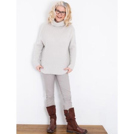 Amazing Woman  Carla E Cosy Knit Ribbed Polo Neck - Off-White