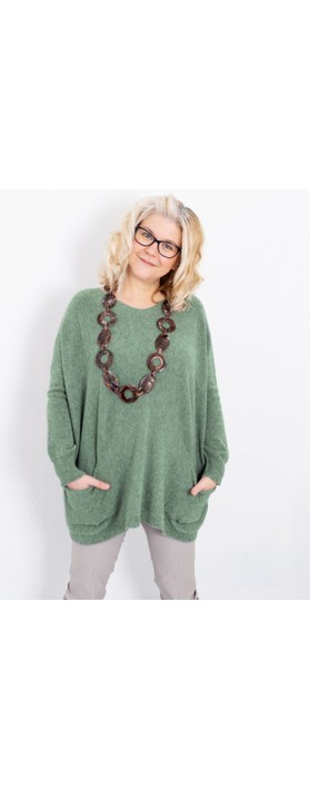 Amazing Woman Caryf X Round Neck Oversized Jumper Olive Green