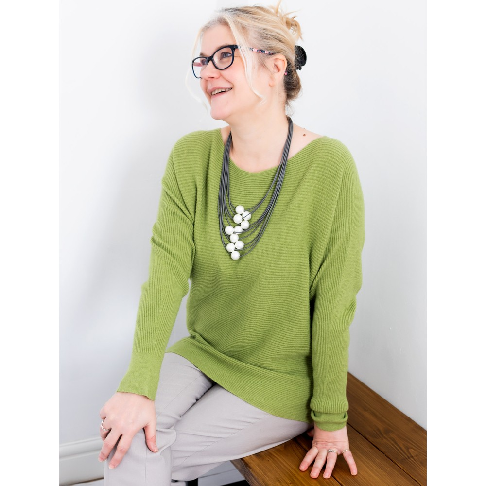 Amazing Woman Celia Round Neck Ribbed Knit Pea Green