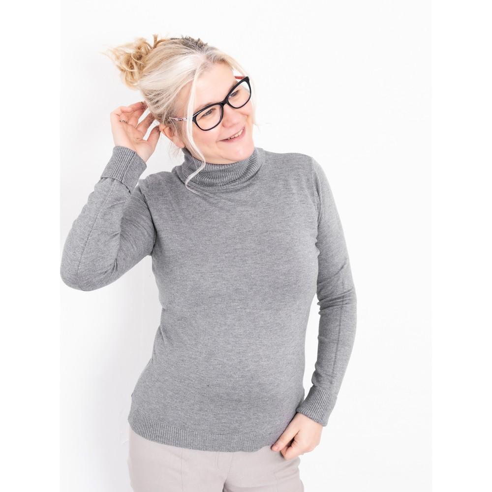 Amazing Woman  Britt Fineknit Fitted Polo Neck Jumper Grey Marl
