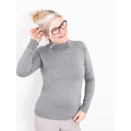 Amazing Woman Britt Fineknit Fitted Polo Neck Jumper - Blue