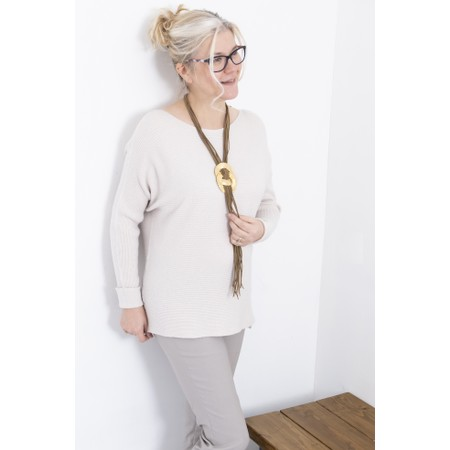 Amazing Woman  Celia Round Neck Ribbed Knit - Off-White