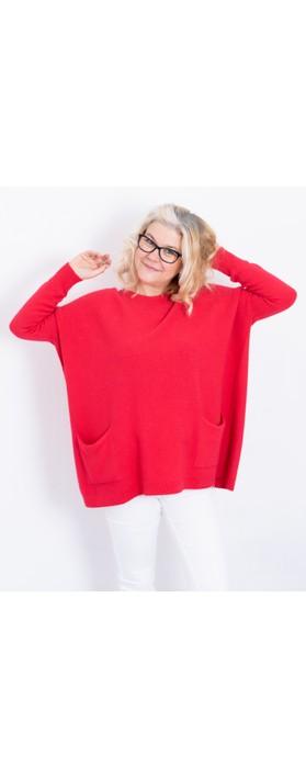 Amazing Woman Caryf X Round Neck Oversized Jumper Dark Red
