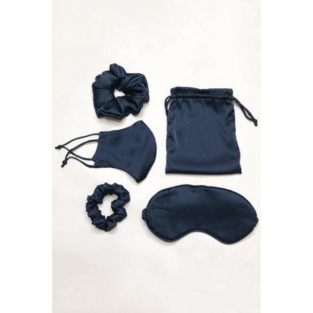 Gemini Label Accessories Misty Silk Blend Face Eye Mask Scrunchie Set  - Blue