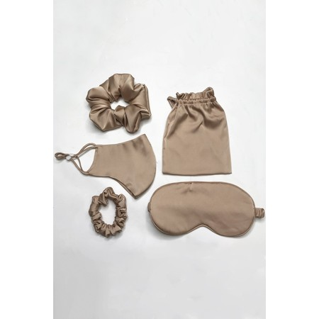 Gemini Label Accessories Misty Silk Blend Face Eye Mask Scrunchie Set  - Brown