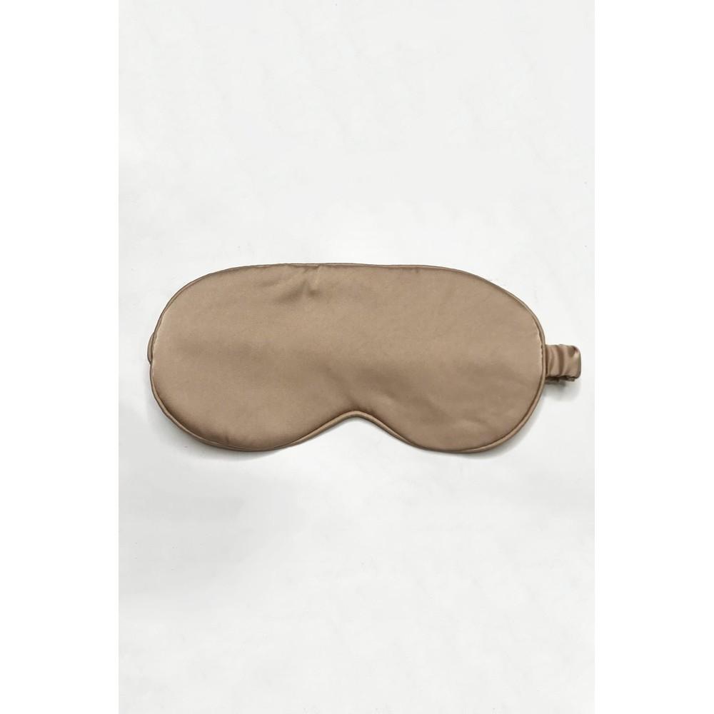Gemini Label Accessories Misty Silk Blend Face Eye Mask Scrunchie Set  Mocha