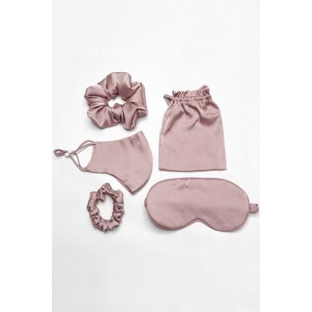 Gemini Label Accessories Misty Silk Blend Face Eye Mask Scrunchie Set  - Pink