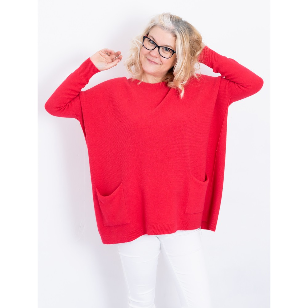 Amazing Woman Caryf X Round Neck Oversized Jumper Coral Red