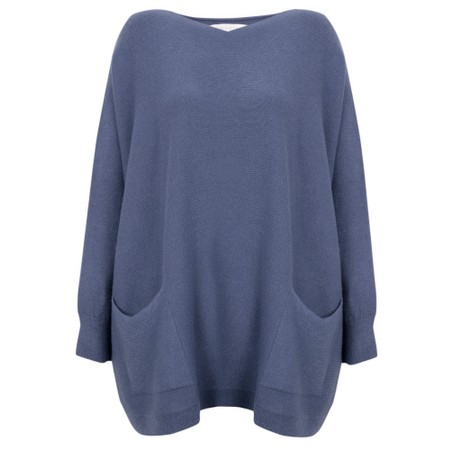Amazing Woman Caryf X Round Neck Oversized Jumper - Blue