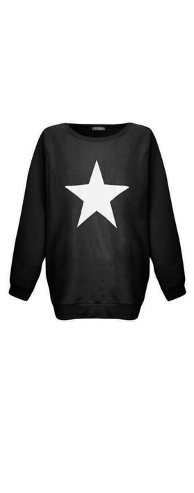 Chalk Nancy Star Oversized Comfy Sweatshirt Black / White