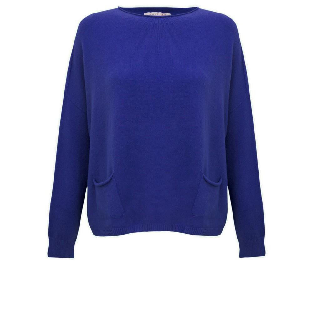 Amazing Woman Jodie Front Pocket Supersoft Knit Jumper Blusa Blue