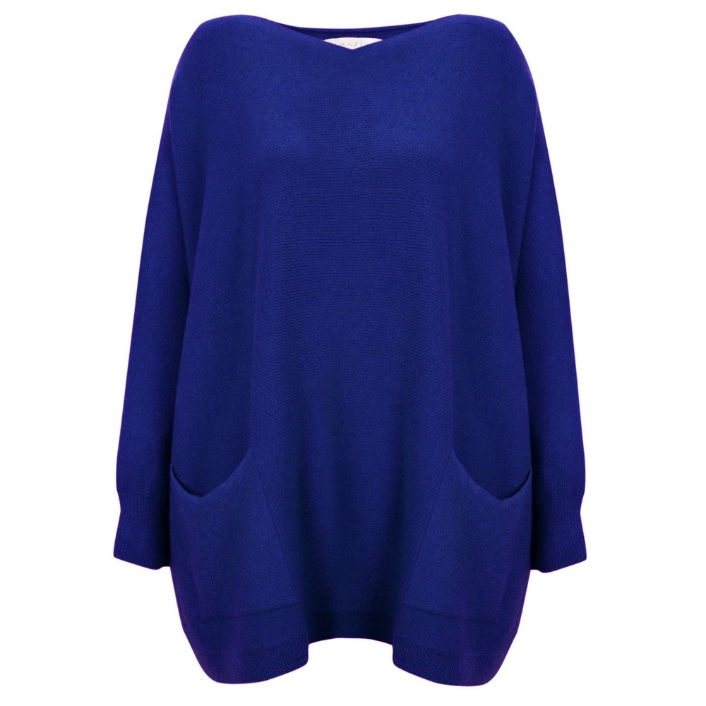 Amazing Woman Caryf X Round Neck Oversized Jumper Blusa Blue