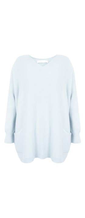 Amazing Woman Caryf X Round Neck Oversized Jumper Pale Blue