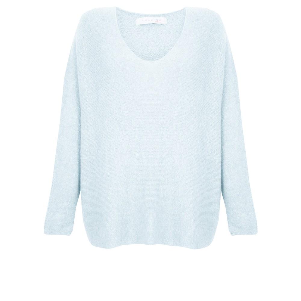 Amazing Woman Cadee V Neck Oversized Cosy Knit Pale Blue