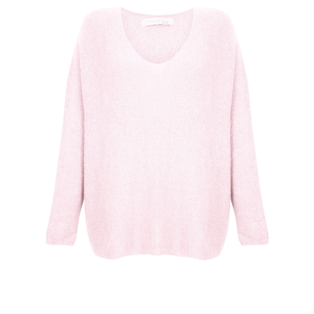 Amazing Woman Carin V Neck Cosy Knit Pale Pink