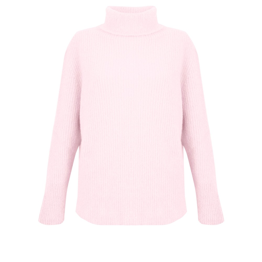 Amazing Woman Carla E Cosy Knit Ribbed Polo Neck Pale Pink