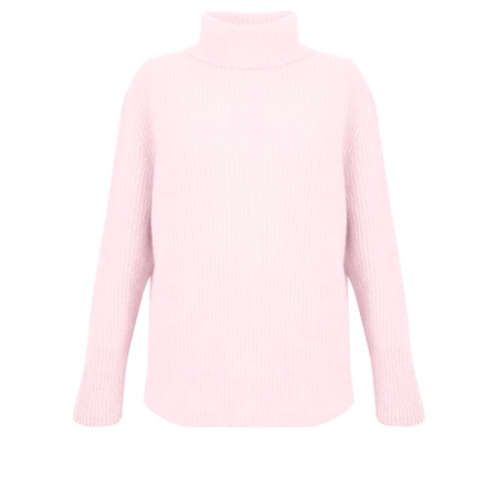 Amazing Woman Carla E Cosy Knit Ribbed Polo Neck - Pink