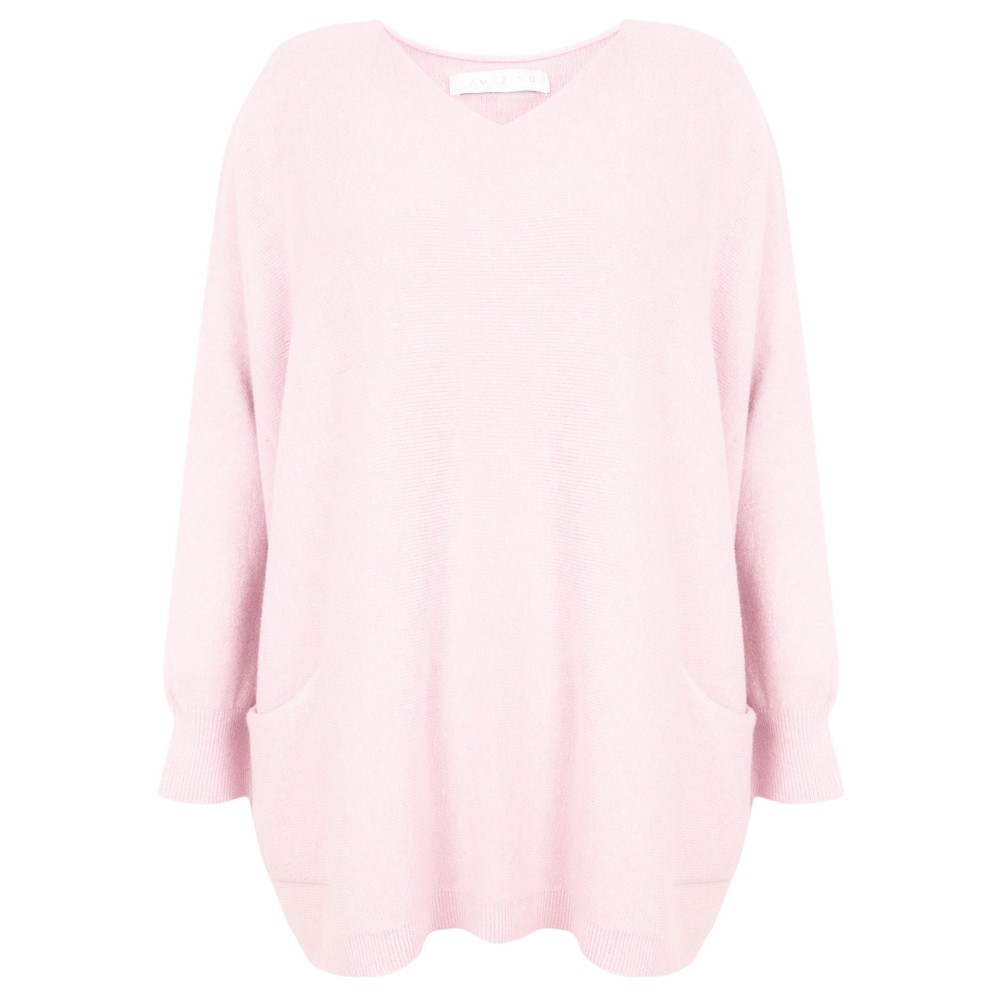 Amazing Woman Caryf X Round Neck Oversized Jumper Pale Pink