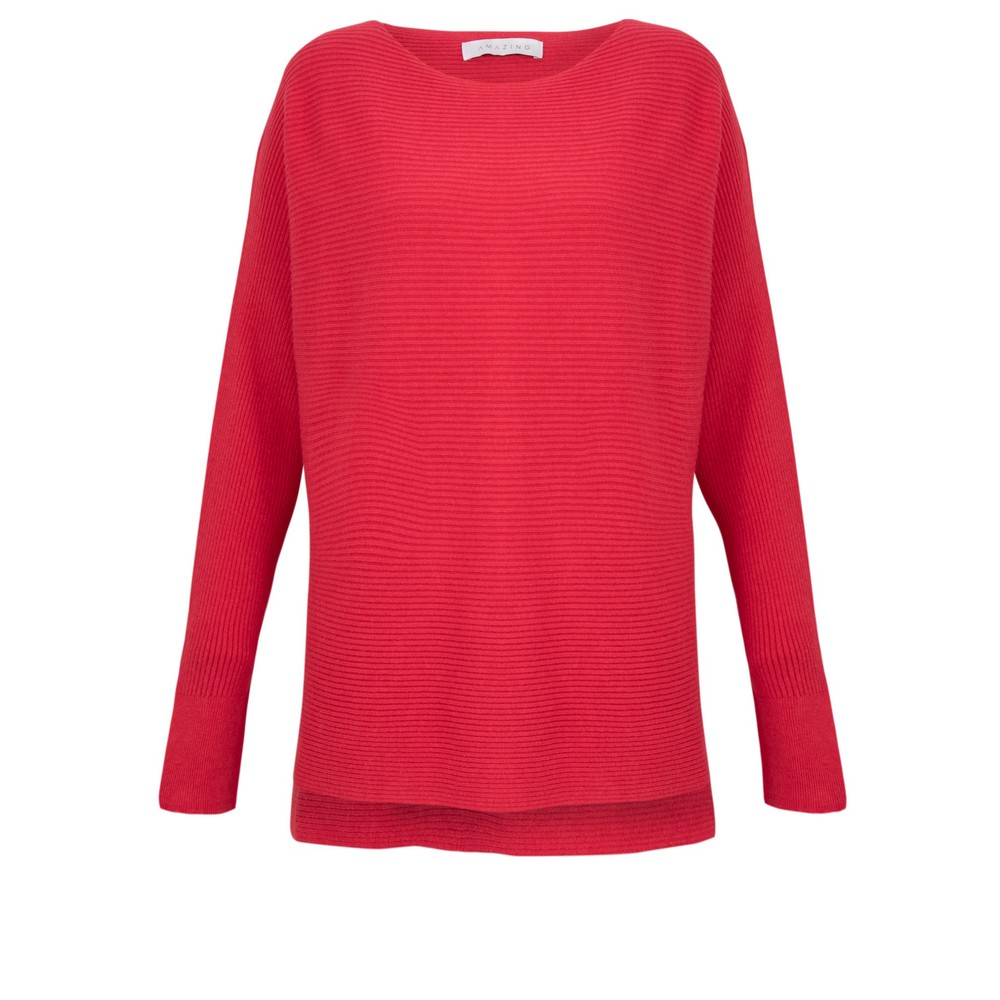 Amazing Woman Celia Round Neck Ribbed Knit Dark Red