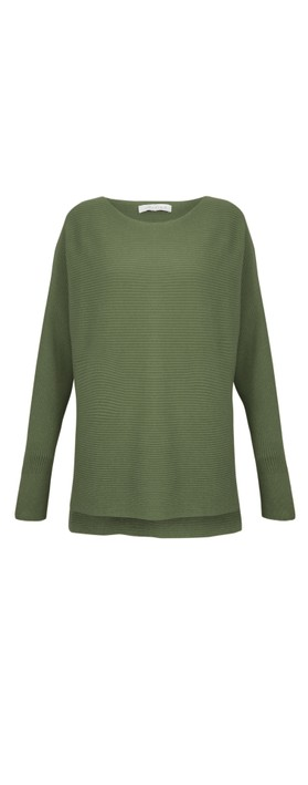 Amazing Woman Celia Round Neck Ribbed Knit Olive Green