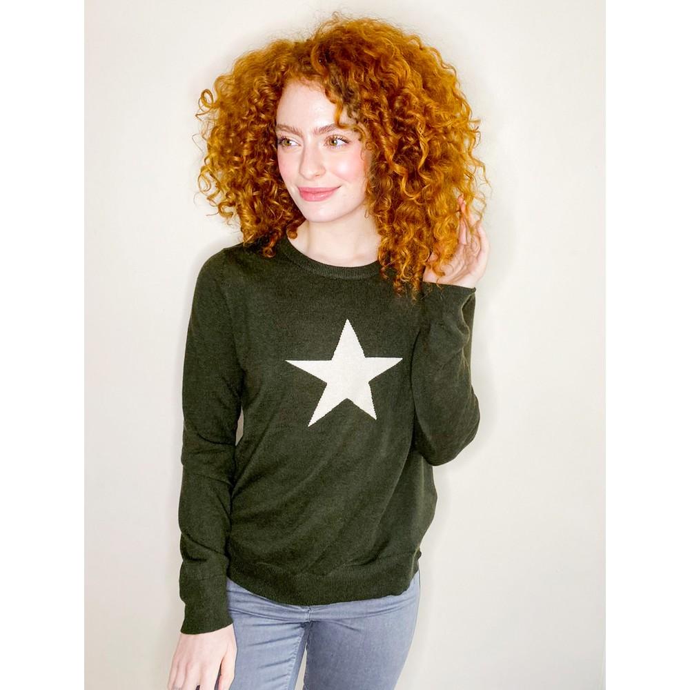 Chalk Taylor Star Jumper Dark Olive