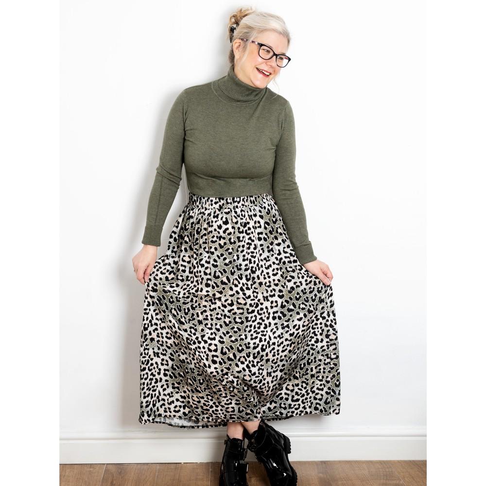 Amazing Woman Santa Midi Skirt Charcoal / Khaki