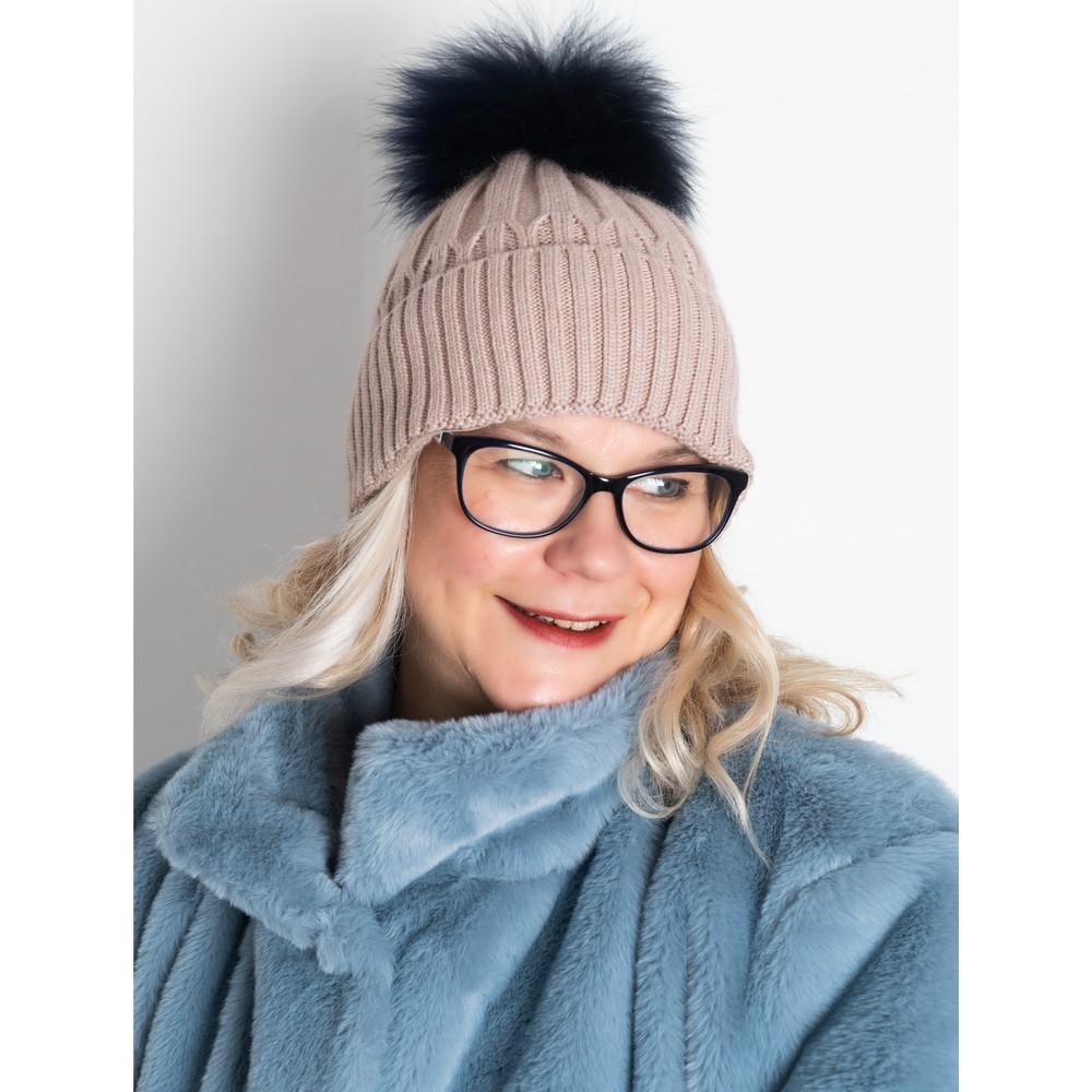 Bitz of Glitz Jessie Pom Pom Hat  Oatmeal / Navy Pom