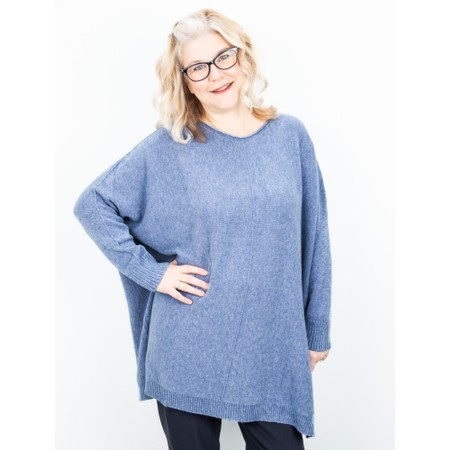 Amazing Woman Cassi X Round Neck Front Seam Knit - Blue