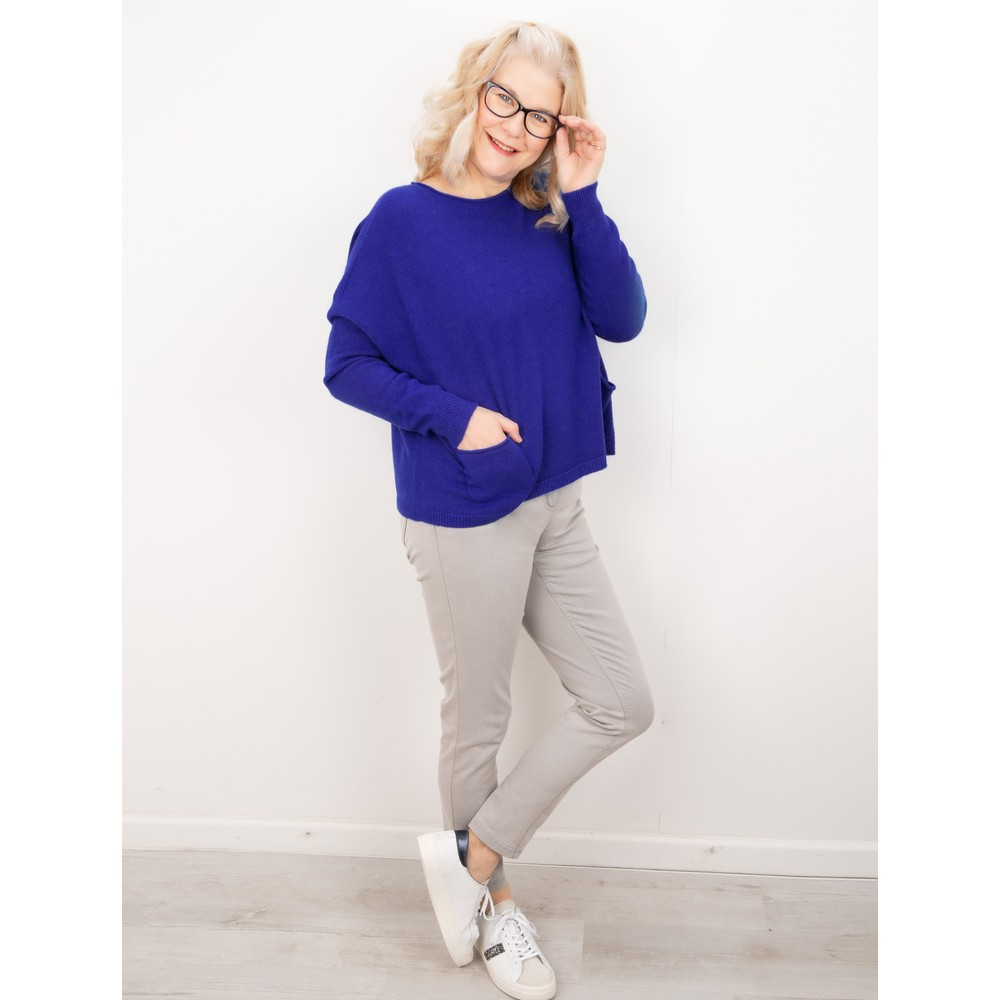 Amazing Woman Jodie Front Pocket Supersoft Knit Jumper Blusa Blue