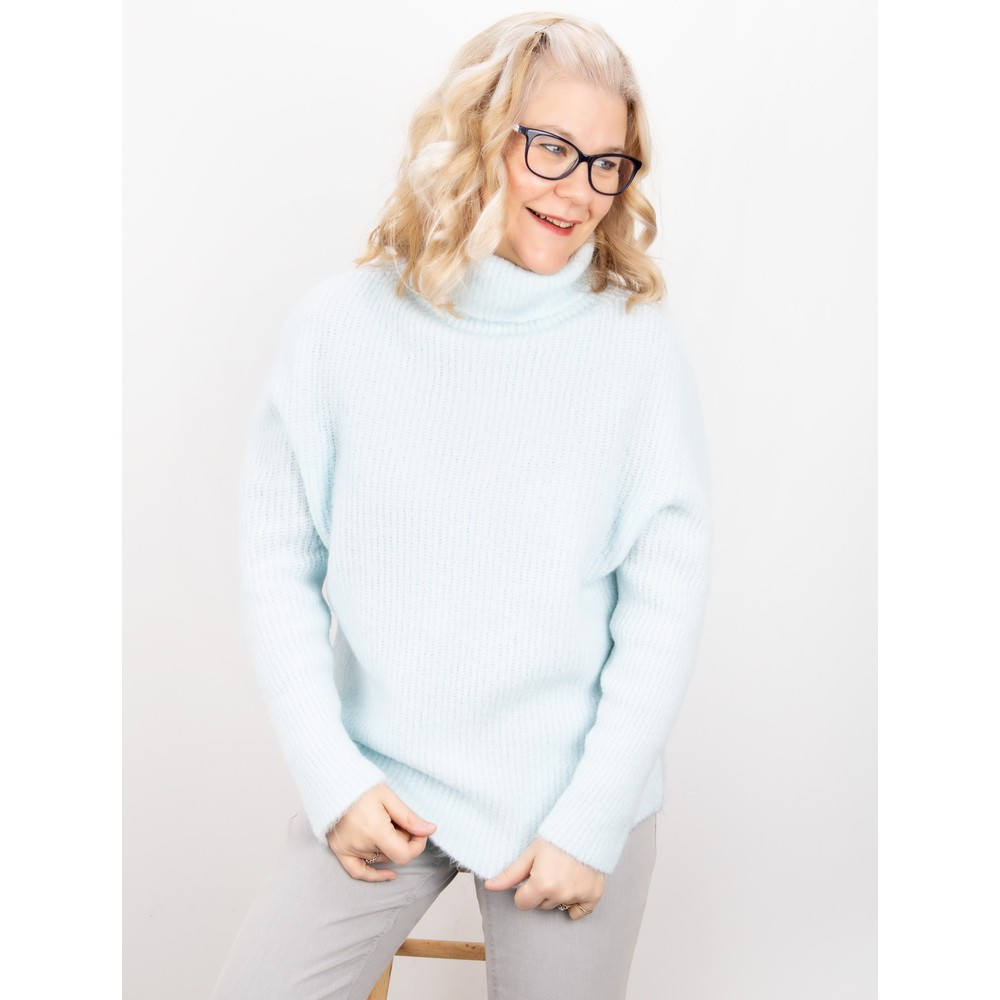 Amazing Woman Carla E Cosy Knit Ribbed Polo Neck Pale Blue