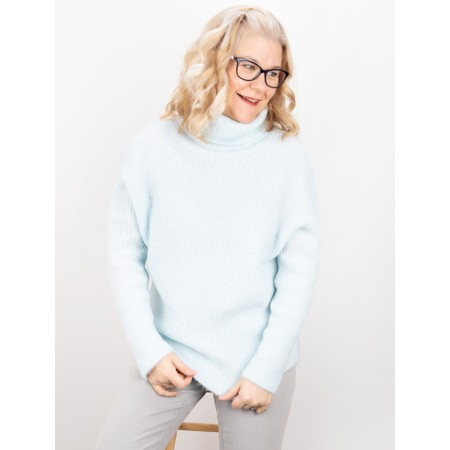 Amazing Woman Carla E Cosy Knit Ribbed Polo Neck - Blue