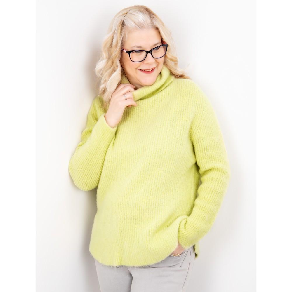Amazing Woman Carla E Cosy Knit Ribbed Polo Neck Pistachio