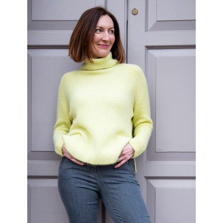 Amazing Woman Carla E Cosy Knit Ribbed Polo Neck - Green