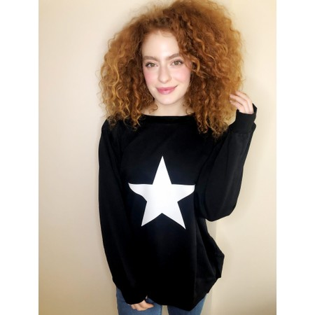 Chalk Nancy Star Oversized Comfy Sweatshirt - Beige