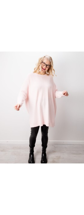 Amazing Woman Cassi X Round Neck Front Seam Knit Pale Pink