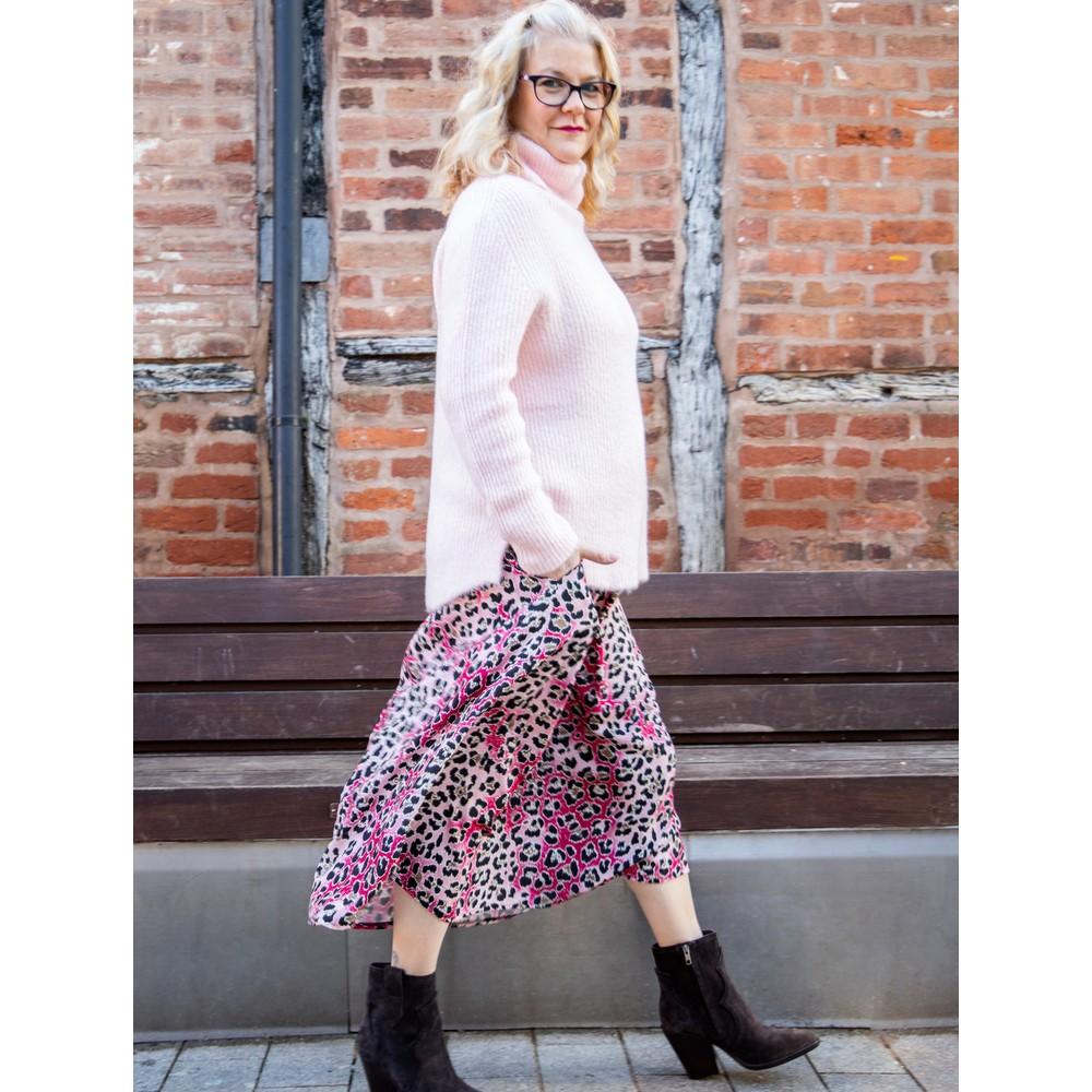 Amazing Woman Carla E Cosy Knit Ribbed Polo Neck Pale Pink