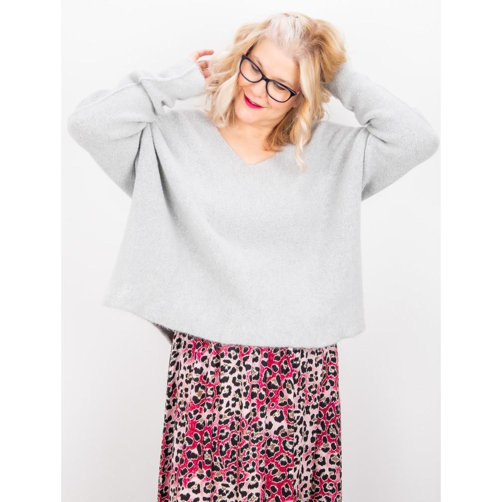 Amazing Woman Cadee V Neck Oversized Cosy Knit Silver