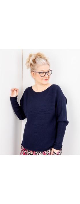 Amazing Woman Celia Round Neck Ribbed Knit Dark Navy Blue