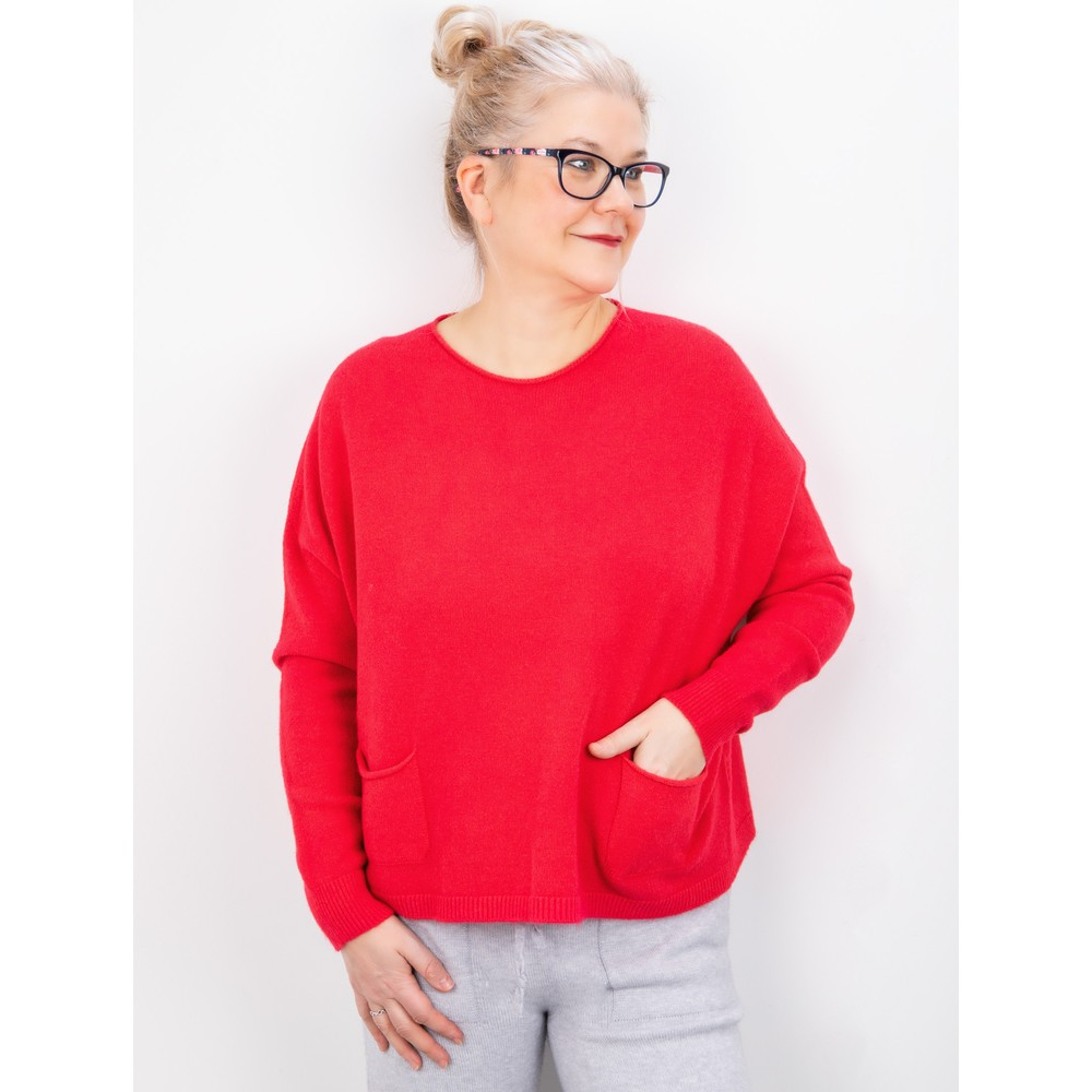 Amazing Woman Jodie Front Pocket Supersoft Knit Jumper Coral Red
