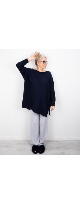 Amazing Woman Cassi X Round Neck Front Seam Knit Dark Navy Blue