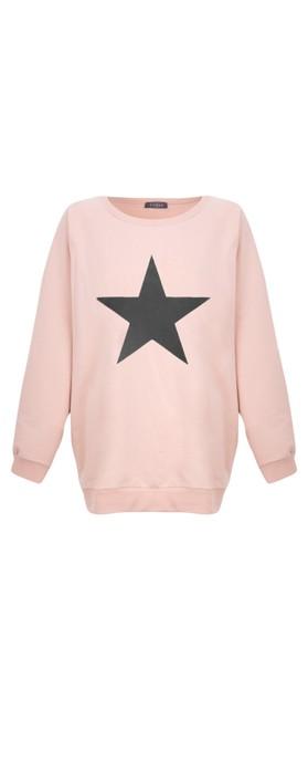 Chalk Nancy Star Oversized Comfy Sweatshirt Dusky Pink / Dark Grey