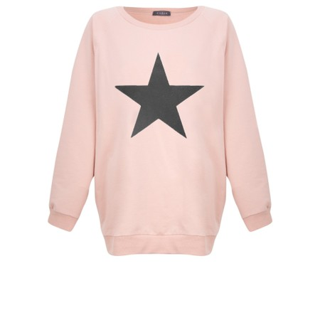 Chalk Nancy Star Oversized Comfy Sweatshirt - Pink